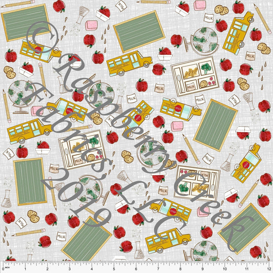 Grey Mustard Sage and Red Tossed Back to School 4 Way Stretch Jersey Knit Fabric, Back to School by Bri Powell for Club Fabrics - Raspberry Creek Fabrics