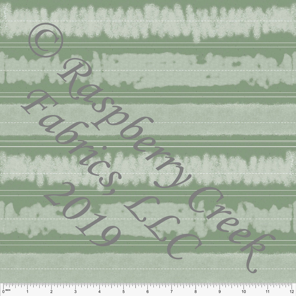Tonal Sage Green and White Chalk Board Stripe 4 Way Stretch Jersey Knit Fabric, Back to School by Bri Powell for Club Fabrics - Raspberry Creek Fabrics