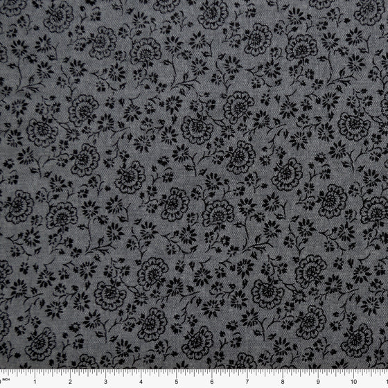 Tonal Grey and Black Floral Chambray, 1 yard - Raspberry Creek Fabrics