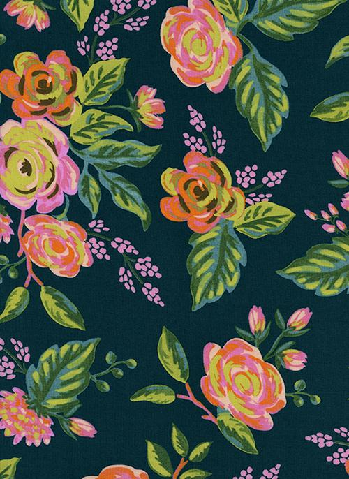 Navy Blue Green Pink and Yellow Floral Rayon Challis, Menagerie By Rifle Paper Co for Cotton and Steel, Jardin De Paris Navy, 1 Yard