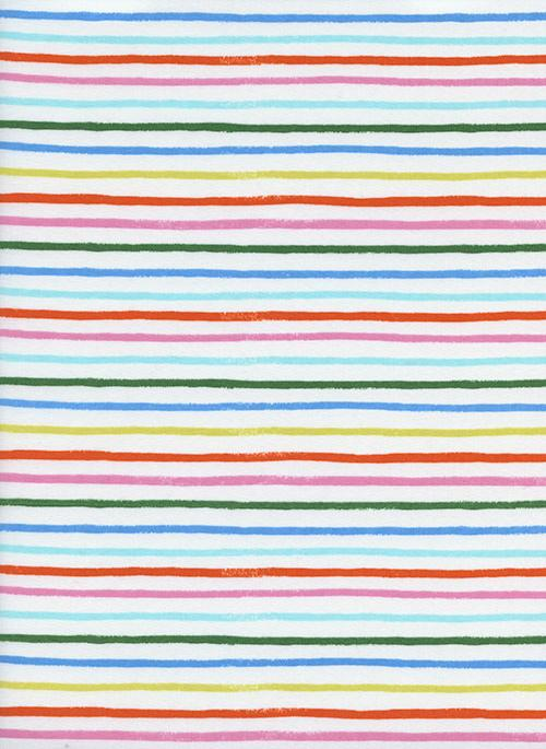 Pink Red Mint Green Yellow and Blue Stripe Cotton Lawn, Amalfi By Rifle Paper Co for Cotton and Steel, Happy Stripes in Cream, 1 Yard