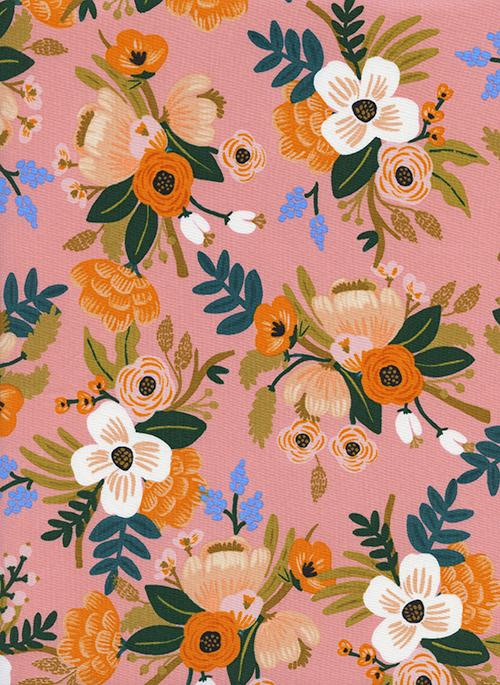 Coral Pink Blue Orange and Green Floral Rayon Challis, Amalfi By Rifle Paper Co for Cotton and Steel, Lively in Coral, 1 Yard