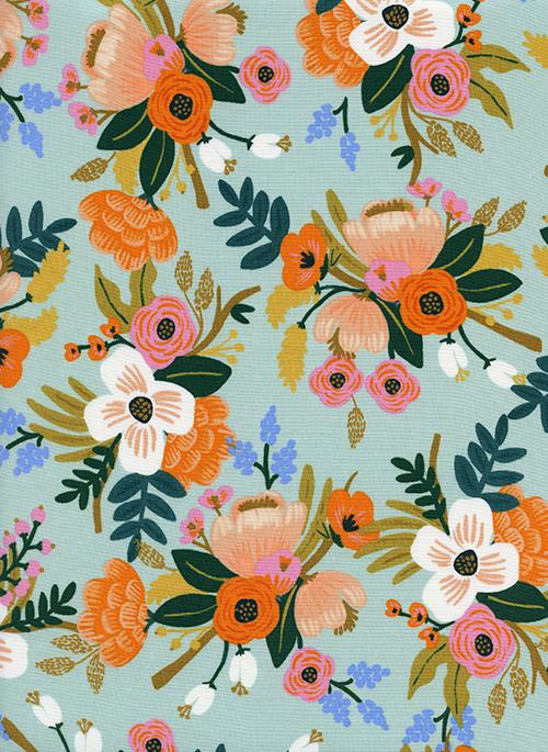 Mint Orange Pink and Green Floral Rayon Challis, Amalfi By Rifle Paper Co for Cotton and Steel, Lively in Mint, 1 Yard