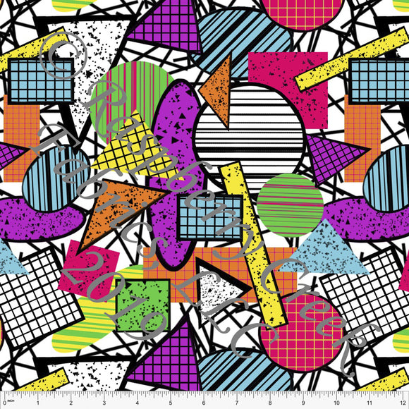 Fuchsia Purple Orange Green and Black 80's Throwback Abstract Geometrics By Emily Ferguson for Club Fabrics - Raspberry Creek Fabrics
