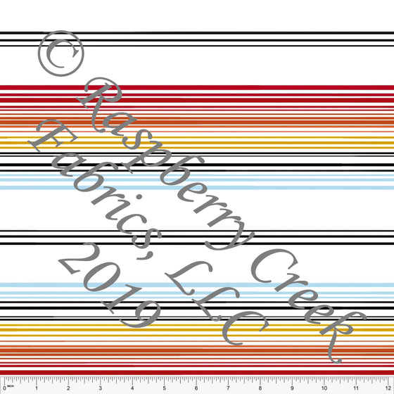 Red Mustard Light Blue and Black Variegated Retro Stripe By Emily Ferguson for Club Fabrics - Raspberry Creek Fabrics