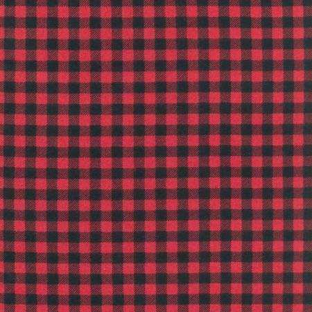 Black and Red Square Check Plaid Robert Kaufman Burley Beavers Plaid Flannel, 1 Yard