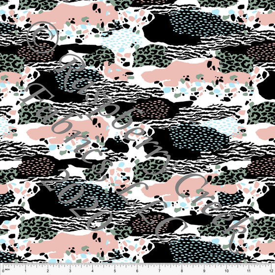 Black White Sage Light Blue and Blossom Pink Abstract Animal Print 4 Way Stretch MATTE SWIM Knit Fabric, Club Fabrics - Raspberry Creek Fabrics