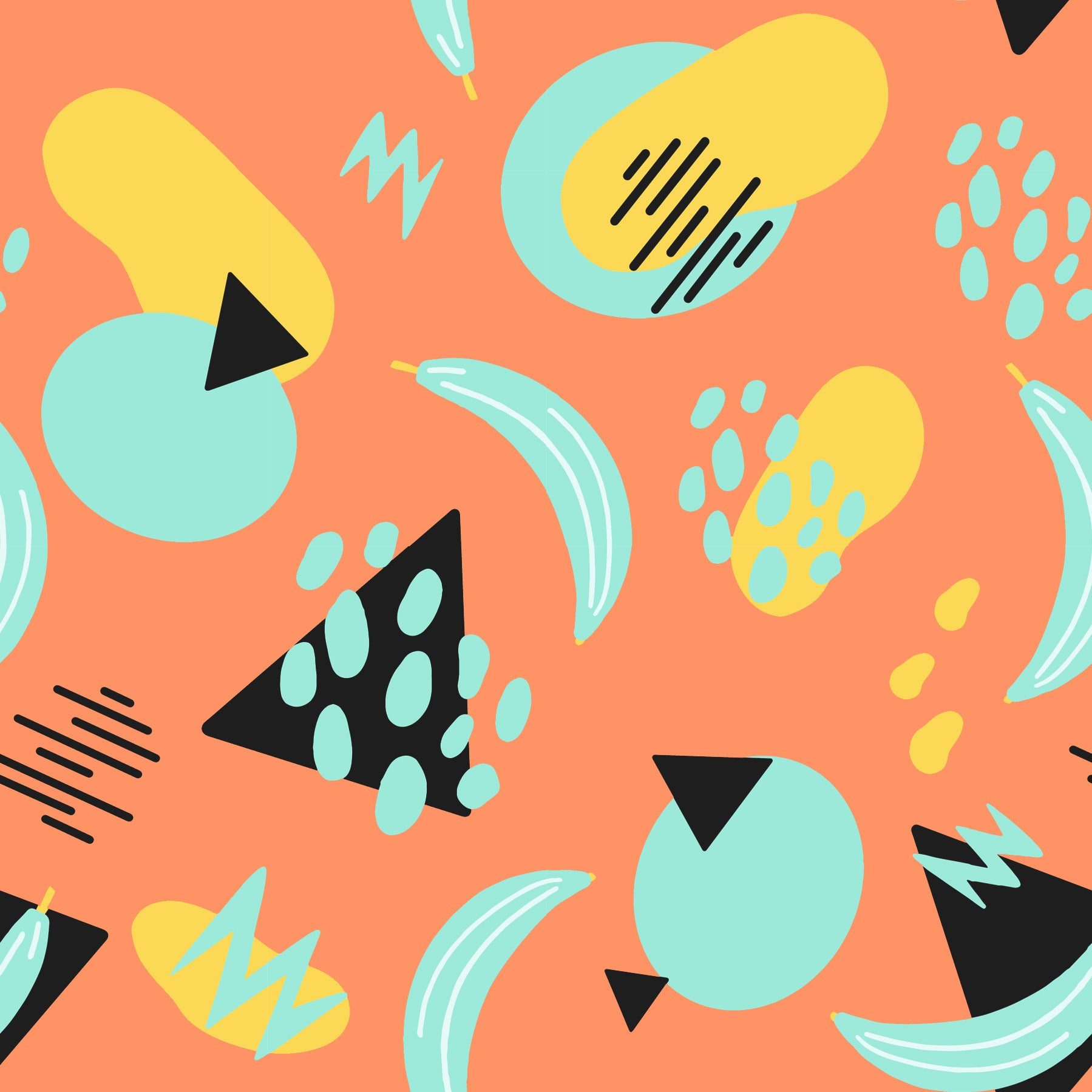 Orange Mint Yellow and Black Abstract Tossed Shape Print, Abstracts by Brielle Carlson For Club Fabrics - Raspberry Creek Fabrics Knit Fabric