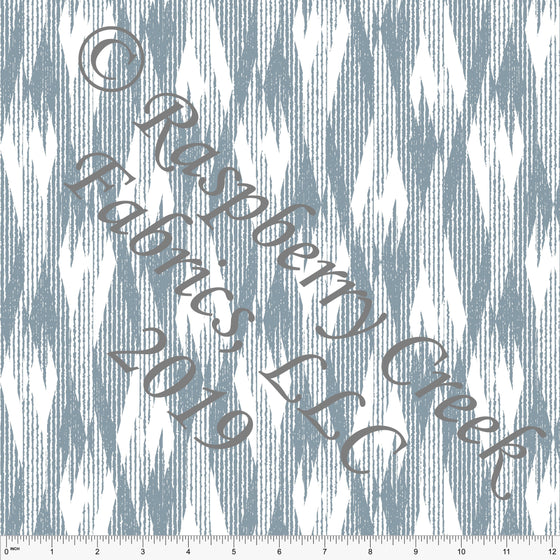 Dusty Blue and White Abstract Ikat Ponte De Roma Knit Fabric, CLUB Fabrics, 1 yard