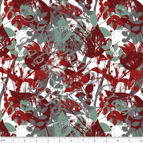 Burgundy Sage Grey and White Abstract Leaf 4 Way Stretch Double Brushed Poly Knit Fabric, Brushed Poly for CLUB Fabrics