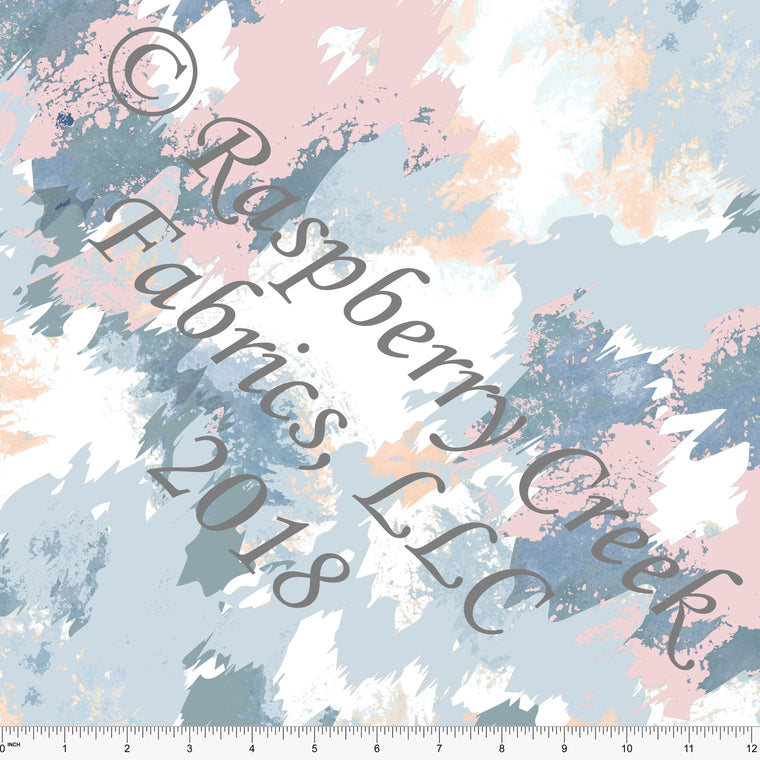 Pink Peach Teal and Blue Abstract Paint Splatter Rayon Challis, 1 Yard