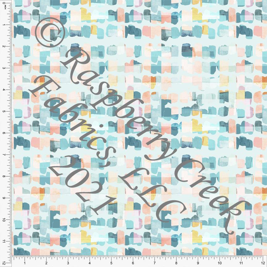 Tonal Teal Blue Coral and Yellow Abstract Square Print Stretch Crepe, CLUB Fabrics - Raspberry Creek Fabrics Knit Fabric