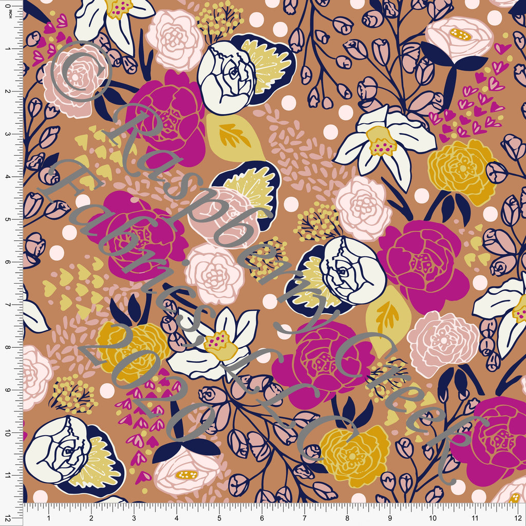 Mustard Navy Fuchsia and Dusty Pink Scattered Floral Print Double Brushed Poly Knit Fabric, Abundant by Kimberly Henrie for CLUB Fabrics - Raspberry Creek Fabrics