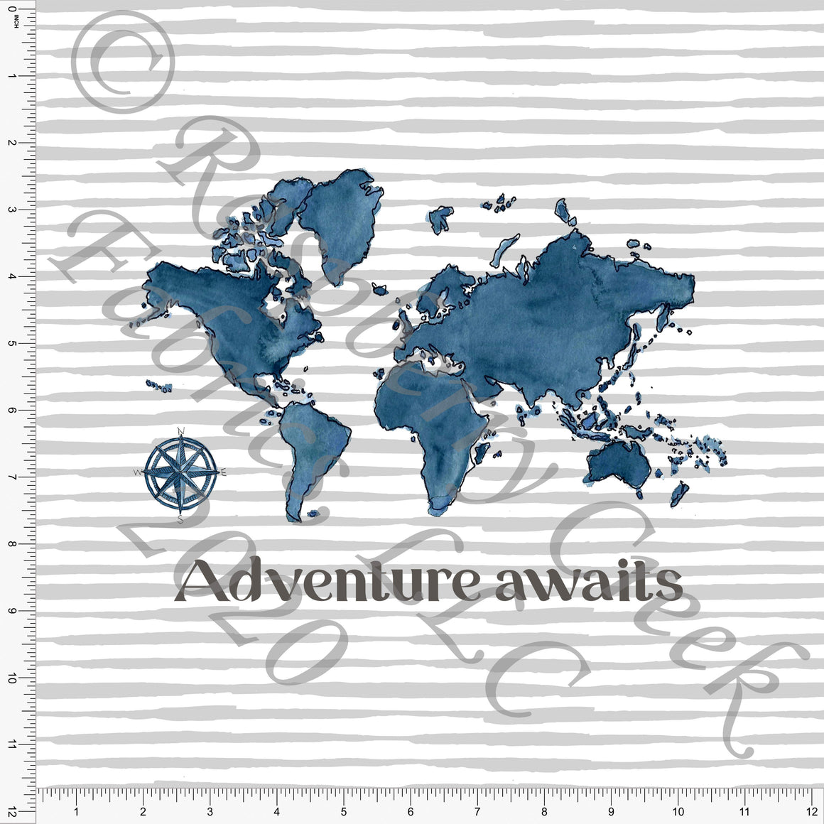 Tonal Indigo Teal Blue Watercolor World Map Adventure Awaits Panel on Grey Stripes, Travel by Brittney Laidlaw for Club Fabrics - Raspberry Creek Fabrics