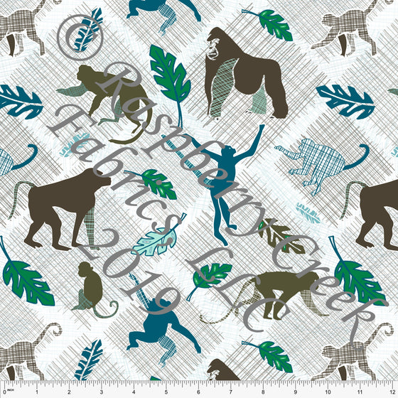 Olive Grey Teal and Kelly Green Monkeys 4 Way Stretch Jersey Knit Fabric, Jungle Animals by Elise Peterson for Club Fabrics