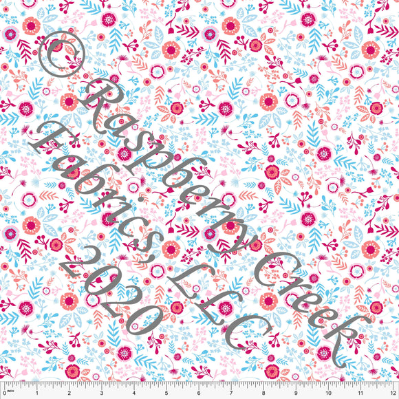 Light Blue Coral Light Pink and Magenta Apron Floral, Summer Cooking by Elise Peterson for Club Fabrics - Raspberry Creek Fabrics