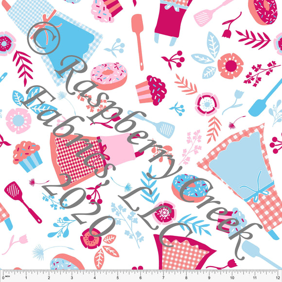 Light Blue Coral Light Pink and Magenta Kitchen Aprons, Summer Cooking by Elise Peterson for Club Fabrics - Raspberry Creek Fabrics