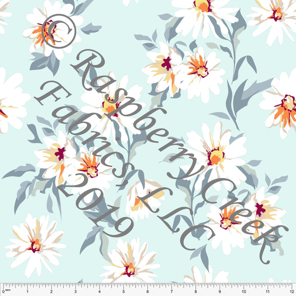 Aqua Blue Grey Yellow and Orange Daisy Ponte De Roma Knit Fabric, CLUB Fabrics, 1 yard - Raspberry Creek Fabrics