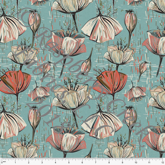 Aqua Coral Beige and Mauve Floral in Rayon Challis, CLUB Fabrics, 1 Yard