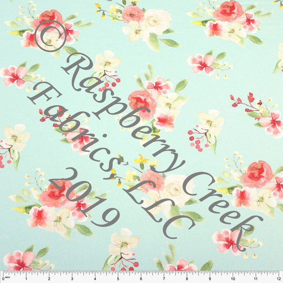 Mint Coral Yellow and Green Watercolor Floral 4 Way Stretch Double Brushed Poly Knit Fabric, Brushed Poly for CLUB Fabrics - Raspberry Creek Fabrics