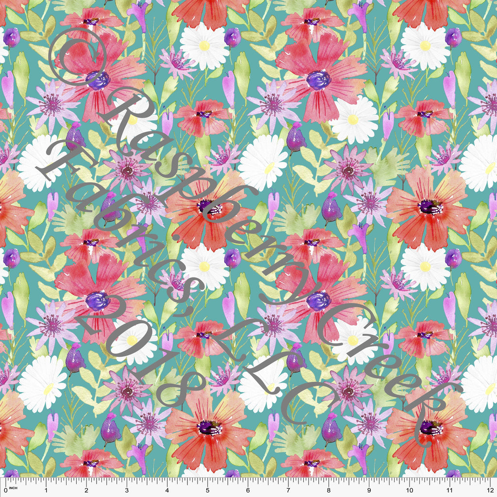 Teal Coral Pink and Purple Floral 4 Way Stretch MATTE SWIM Knit Fabric, By Ella Randall For Club Fabrics