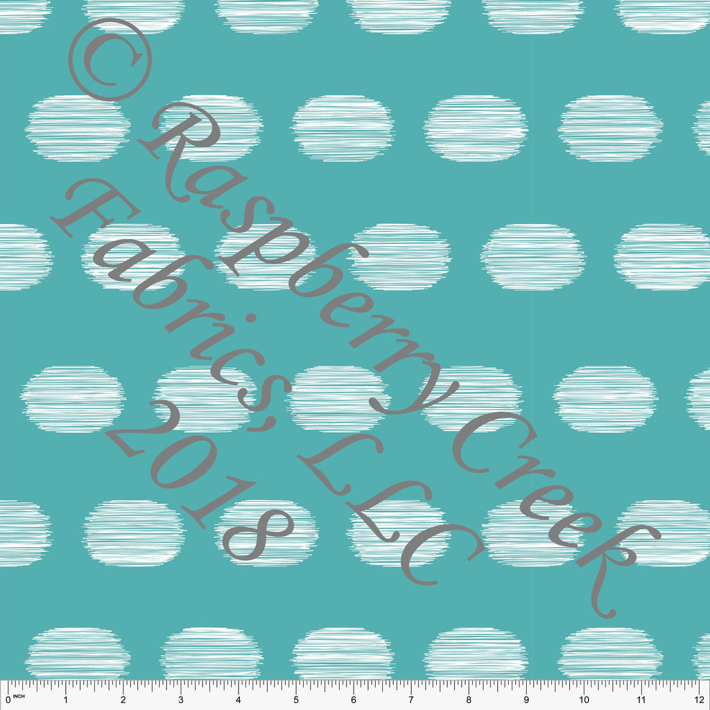 Teal and White Hand Drawn Large Polka Dot 4 Way Stretch MATTE SWIM Knit Fabric, By Kim Henrie For Club Fabrics
