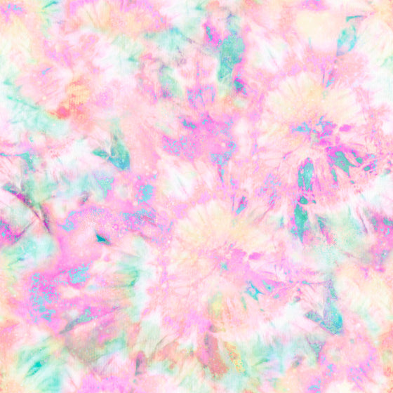 Aqua Pink Purple and Orange Tie Dye Print Double Brushed Poly Knit Fabric, CLUB Fabrics - Raspberry Creek Fabrics