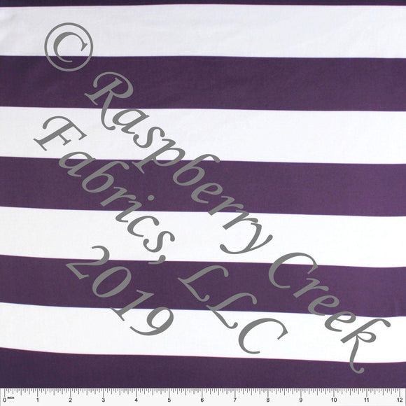 Eggplant Purple and White Wide Rugby Stripe 4 Way Stretch Double Brushed Poly Knit Fabric, CLUB Fabrics - Raspberry Creek Fabrics