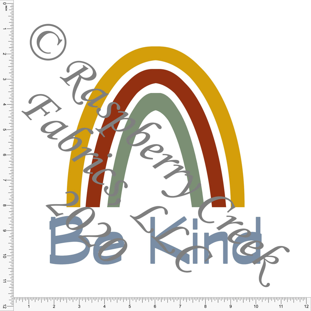 Sage Dusty Blue Rust and Mustard Be Kind Rainbow Panel, Be Kind for Club Fabrics - Raspberry Creek Fabrics