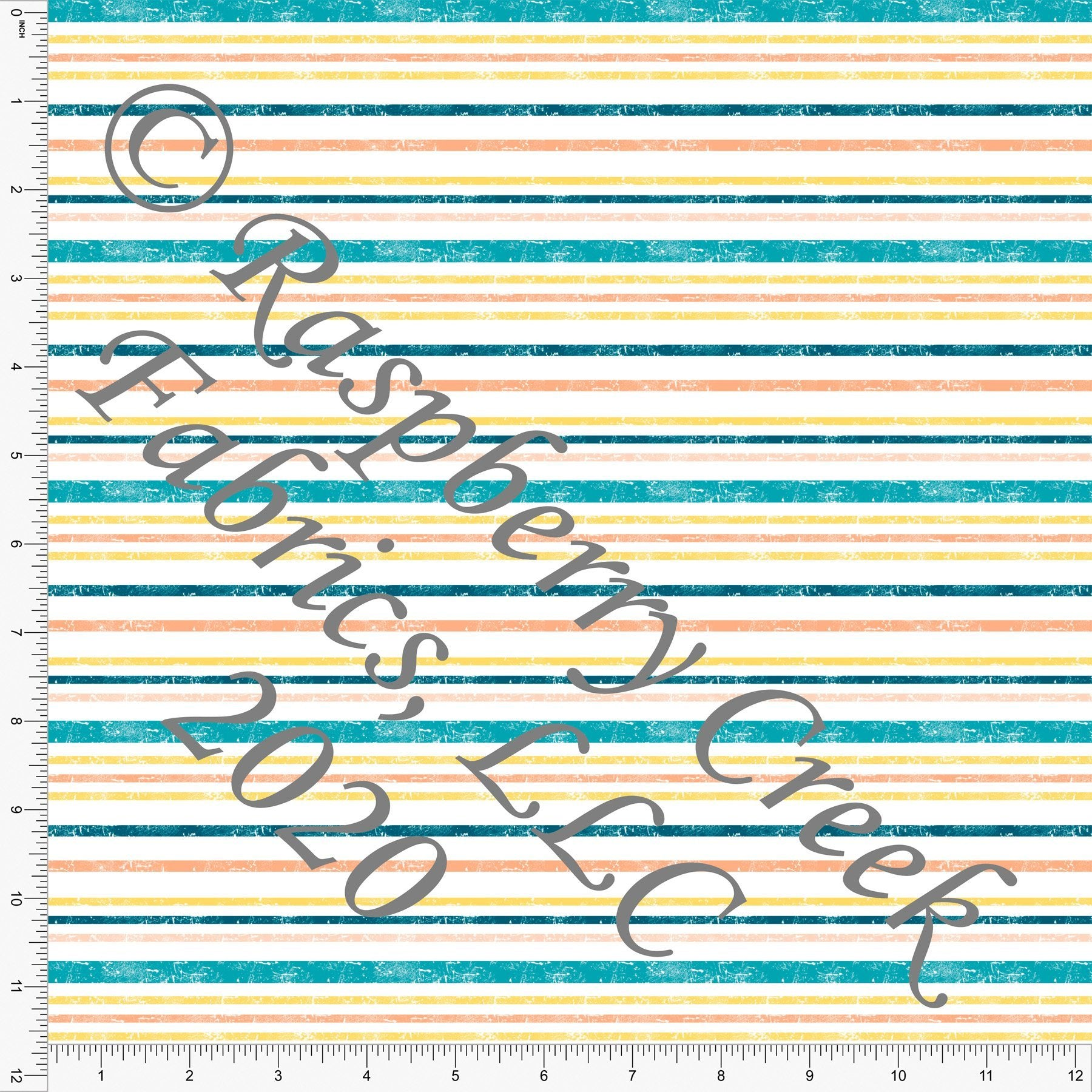 Teal Yellow and Orange Weathered Look Multi Stripe, Be The Good for Club Fabrics - Raspberry Creek Fabrics Knit Fabric
