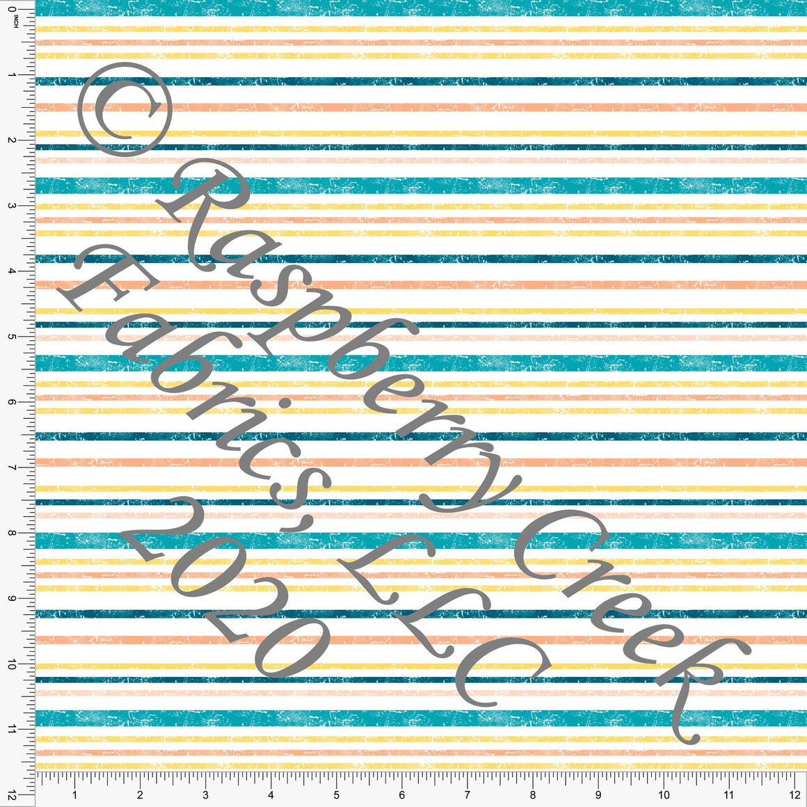 Teal Yellow and Orange Weathered Look Multi Stripe, Be The Good for Club Fabrics - Raspberry Creek Fabrics