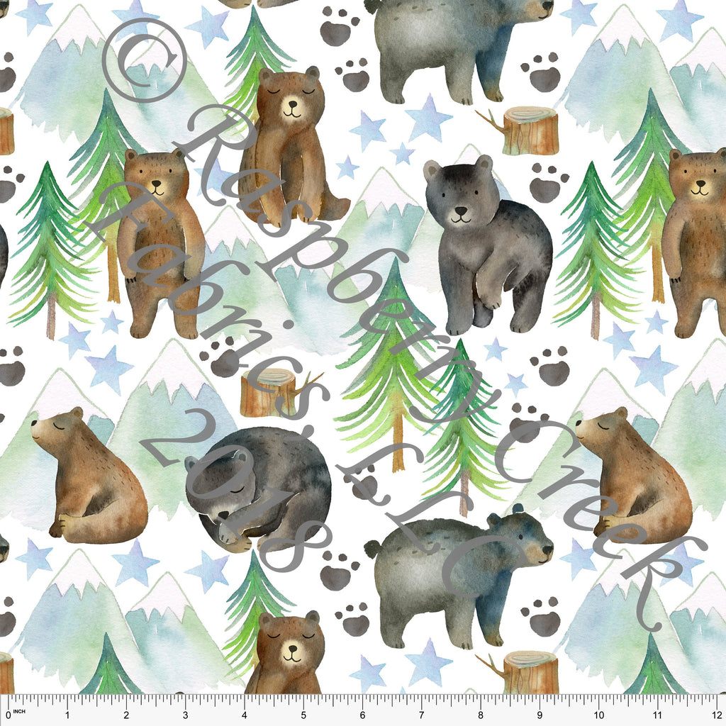 Brown Black Green and Blue Bear Mountain Tree Star 4 Way Stretch Jersey Knit Fabric, Watercolor Animals by Ella Randall for Club Fabrics