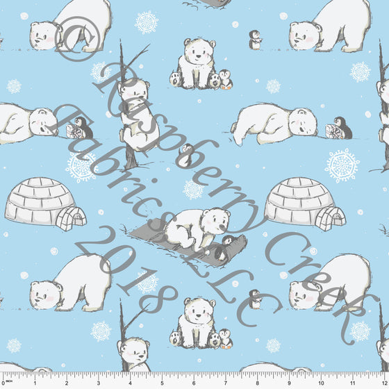 Blue White and Grey Polar Bear Penguin Winter Friends 4 Way Stretch Jersey Knit Fabric, Winter Friends by Elise Peterson for Club Fabrics