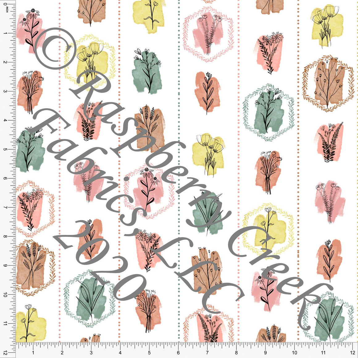 Tonal Coral Dusty Pink Sage Yellow and Brown Bee Flower Vertical Stripe, Save The Bees by Kelsey Shaw for Club Fabrics - Raspberry Creek Fabrics