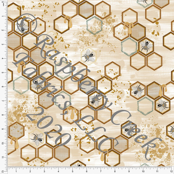 Tonal Mustard Gold Grey and Brown Bee Hive Hexagons, Save The Bees by Kelsey Shaw for Club Fabrics - Raspberry Creek Fabrics