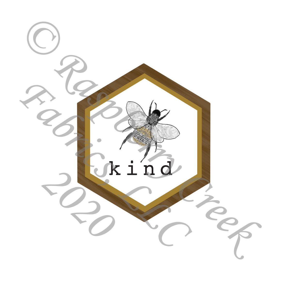 Tonal Mustard Gold Grey and Brown Bee Kind Panel, Save The Bees by Kelsey Shaw for Club Fabrics - Raspberry Creek Fabrics