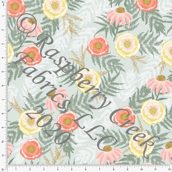 Coral Dusty Pink Sage and Yellow Bee Favorites Floral, Save The Bees by Kelsey Shaw for Club Fabrics - Raspberry Creek Fabrics
