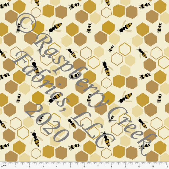 Tonal Mustard Yellow and Black Honey Bee Honey Comb Print Double Brushed Poly Knit Fabric, By Stephani MacLeod for CLUB Fabrics - Raspberry Creek Fabrics