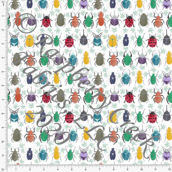 Red Mustard Olive Teal Eggplant Rust and Grey Beetles, Bugs by Brittney Laidlaw for Club Fabrics - Raspberry Creek Fabrics