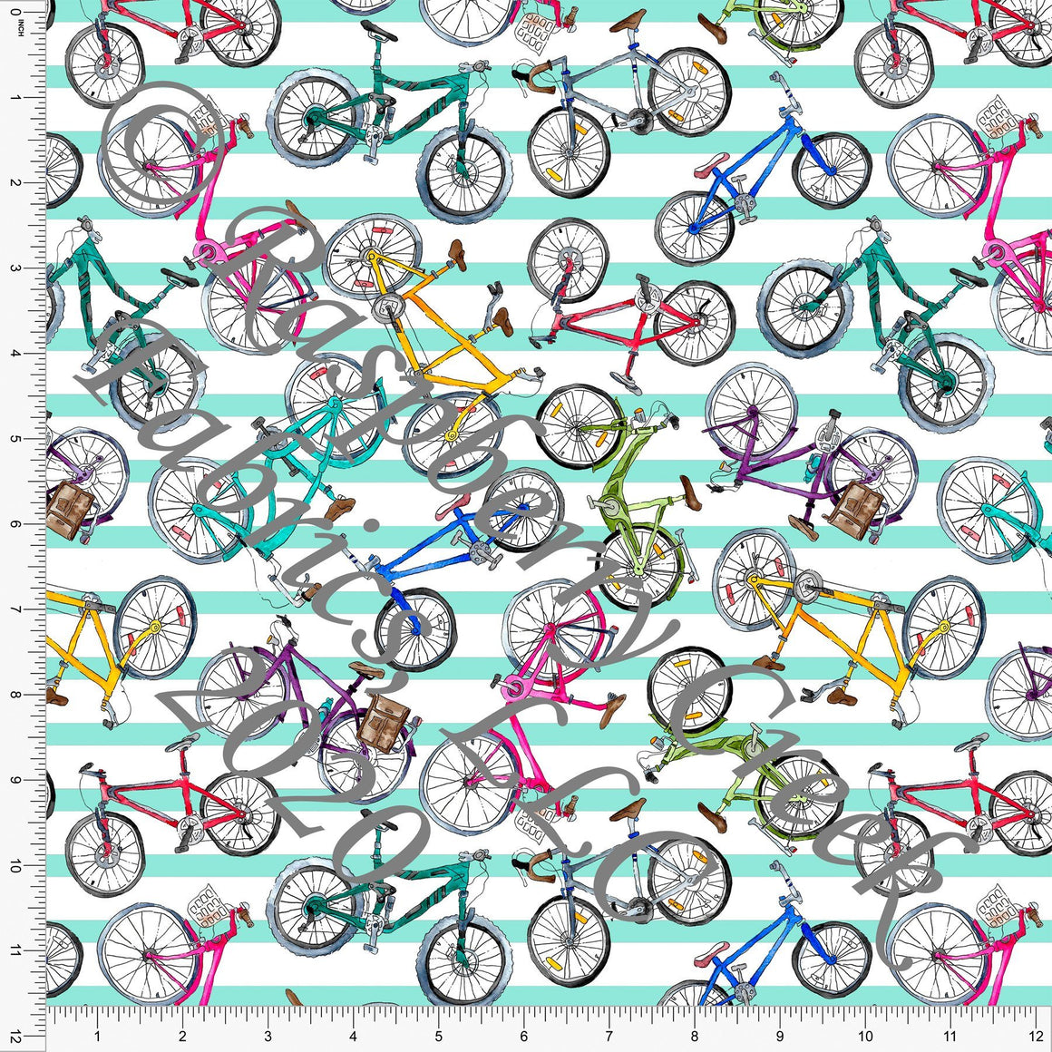 Seafoam Fuchsia Yellow Green and Mint Stripe Bicycles, Things That Go By Brittney Laidlaw for Club Fabrics - Raspberry Creek Fabrics