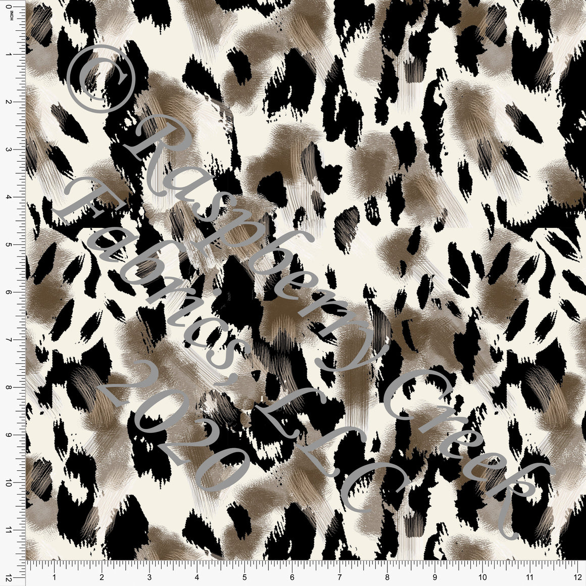Black Brown and Cream Painted Leopard Print Rayon Challis, CLUB Fabrics - Raspberry Creek Fabrics
