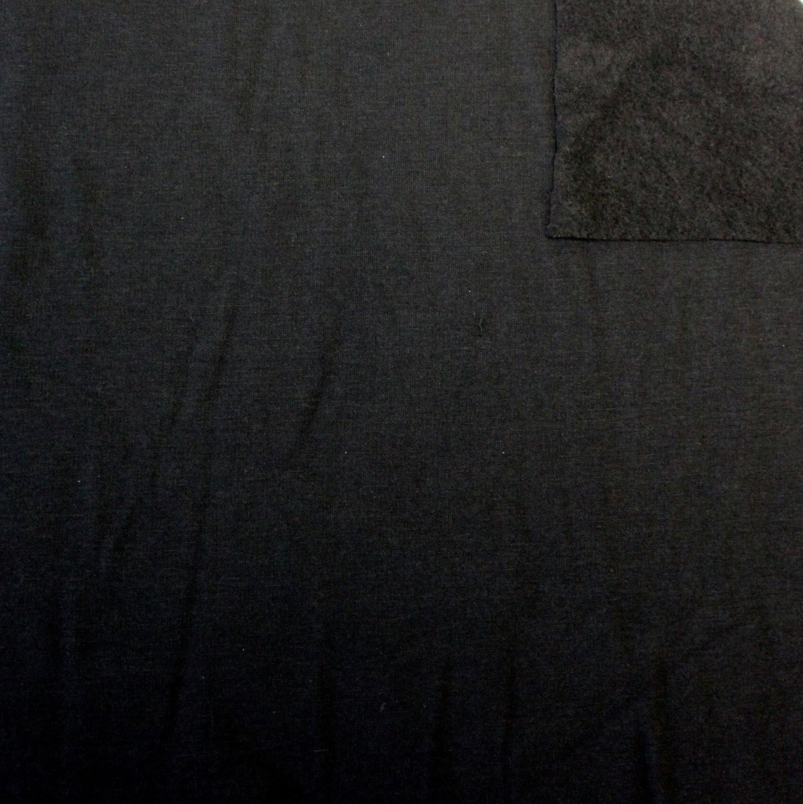 Solid Black French Terry Fleece Sweat Shirting Knit Fabric, 1 Yard