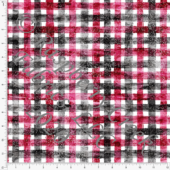 Burgundy and Black Distressed Plaid Print, Whimsical Christmas By Tonya Knowlden for Club Fabrics - Raspberry Creek Fabrics