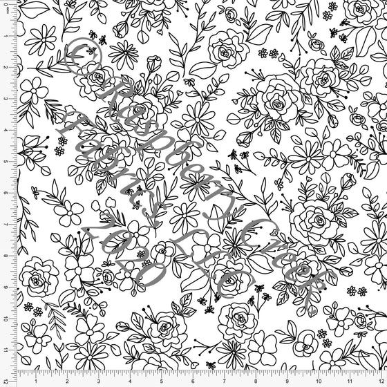 Black and White Line Drawn Valentines Rose Floral, By Kimberly Henrie for Club Fabrics - Raspberry Creek Fabrics