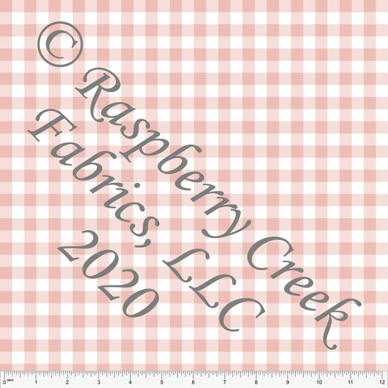 Blossom and White Check Gingham Sueded Microfiber Woven Board Short Fabric, CLUB Fabrics - Raspberry Creek Fabrics
