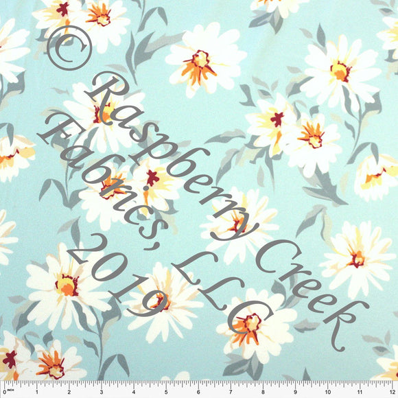 Tonal Blue Grey Orange and White Daisy Floral 4 Way Stretch Double Brushed Poly Knit Fabric, Brushed Poly for CLUB Fabrics - Raspberry Creek Fabrics