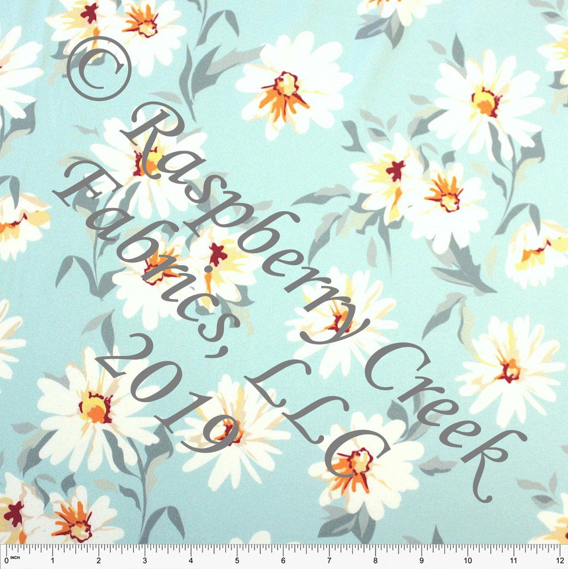 Tonal Blue Grey Orange and White Daisy Floral 4 Way Stretch Double Brushed Poly Knit Fabric, Brushed Poly for CLUB Fabrics