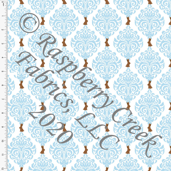 Light Blue White and Brown Chocolate Bunny Damask, By Bri Powell for Club Fabrics CLUB