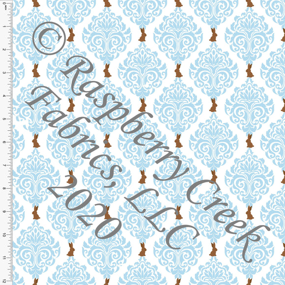 Light Blue White and Brown Chocolate Bunny Damask, By Bri Powell for Club Fabrics - Raspberry Creek Fabrics