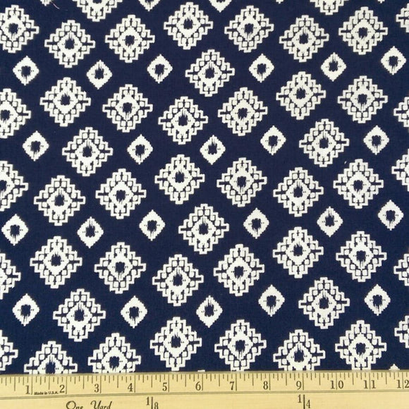 Navy Blue and White Geometric Diamond Fleur Rayon Challis, 1 yard